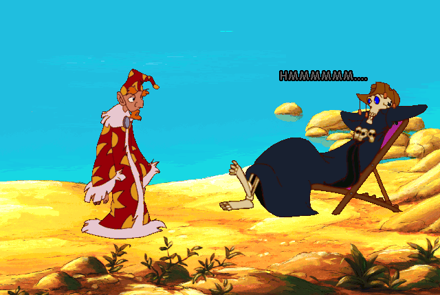 Rincewind tries to convince Death to stop skiving and go do his job. (Discworld II, 1996 Perfect Entertainment)