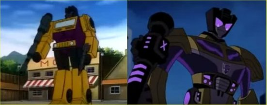 "Compare the Swindles: (left) G1 Swindle (screenshot from episode 62 ""Starsceam's Brigade"") and (right) TFA Swindle (screenshot from Episode 24 ""S.U.V: Society of Ultimate Villainy"""